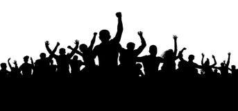 Протестующие, привоженная в ярость толпа людей silhouette вектор, сердитая толпа иллюстрация вектора