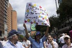 Протестующие против марша диктатуры Nicolas Maduro в поддержку Guaido стоковое изображение rf