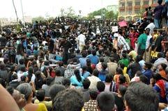Протестующие Jallikattu стоят твердыми: 'We'll идет домой только после SC поднимает запрет Стоковое Изображение RF