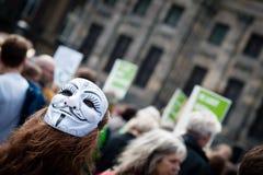 Протестующий нося маску стоковая фотография rf