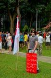 Протестующий с флагом и плакатом: Ралли Сингапура стоковое изображение rf