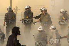 Протесты анархиста в Афинах, Греции стоковые фотографии rf