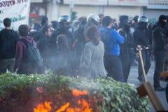 Протесты анархиста в Афинах, Греции стоковое фото rf