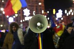 Протесты Бухареста, Румынии стоковая фотография
