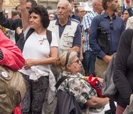 Протесты на квадрате Malostranske в Праге Стоковая Фотография RF