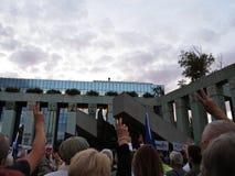 Протесты перед польским Верховным Судом против реформ правительства, 3-ье июля 2017, Варшавой, Польшей стоковая фотография