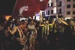 Протесты попытки переворота 15-ое июля в Стамбуле Стоковая Фотография RF