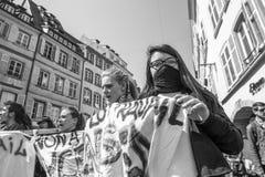 Протест в апреле против реформ работы в Франции Стоковое фото RF