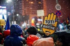 Протест в Бухаресте, Румынии Стоковая Фотография RF