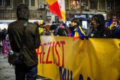 Протест в Бухаресте, Румынии Стоковое Изображение RF