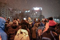 Протест в Бухаресте, Румынии Стоковое фото RF