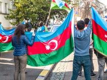 Протест конфликта Азербайджана Армении перед посольством Стоковые Изображения
