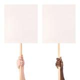Протест подписывает внутри руки Стоковое Изображение RF
