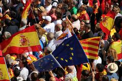 Протест против каталонской независимости Стоковая Фотография