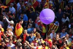 Протест против каталонской независимости Стоковые Изображения