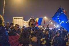Протест румын против правительства стоковое изображение rf