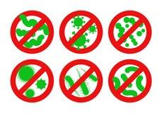 Противобактериологический знак Остановите круг воздушной тревоги красная бактерий с семенозачатками вода вектора свежей иллюстрац бесплатная иллюстрация
