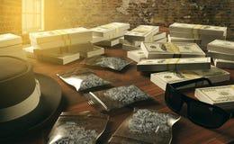 Противозаконные лекарства дела и доллары, торговец наркотикам мафии стоковые изображения