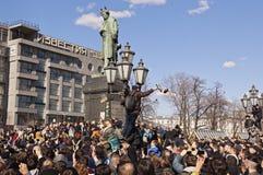Противокоррупционное ралли в Москве 26-ое марта 2017 Стоковое Изображение