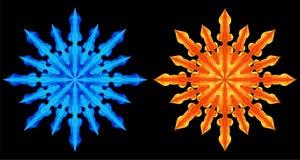 противоположные снежинки Стоковое Изображение