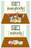 Противоположное слово для каждого и никто иллюстрация вектора