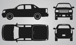 Противостойте, задняя, верхняя и бортовая проекция грузового пикапа Стоковые Фото