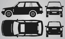 Противостойте, задняя, верхняя и бортовая проекция SUV Стоковое фото RF
