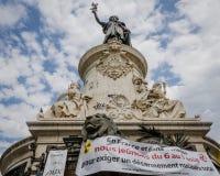Противоядерная демонстрация войны в Париже, Франции Стоковая Фотография