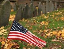 против американского ветра gravey флага Стоковое Изображение RF