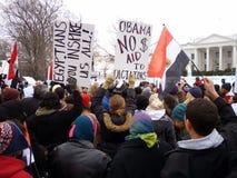 против белизны ралли mubarak дома Стоковое Фото