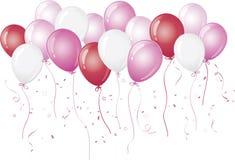 против воздушных шаров плавая розовая белизна Стоковая Фотография RF