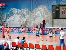 против волейбола Франции России Стоковое Изображение RF