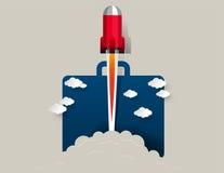 против голубого конца 4 дна nozzle космос неба ракеты к Иллюстрация успеха в бизнесе концепции Abstr вектора Стоковые Фотографии RF