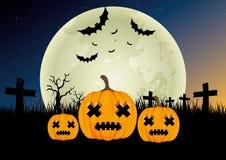 против летучих мышей полный halloween преследовал место тыквы луны дома Стоковое фото RF