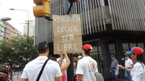 Протест для свободы в Венесуэле Против коммунизма, против социализма стоковое фото rf
