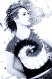 против красивейшего голубого испанца grunge вне женщины стены тонны Стоковые Фотографии RF
