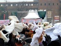 против митингов протеста berlusconi к женщинам Стоковое фото RF
