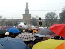 против митингов протеста berlusconi к женщинам Стоковые Фотографии RF