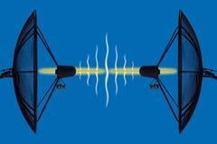 против неба антенны голубого спутникового Стоковые Фотографии RF