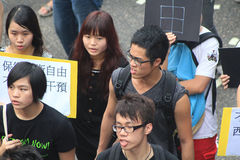Против правительства марширует в Гонконг 2012 Стоковое фото RF