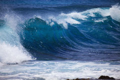 против пульсаций прибоя шторма берега oahu Стоковое фото RF