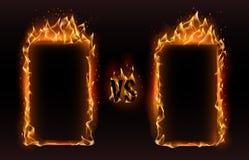 Против рамок Огонь против рамки, экрана для бокса против спорт воюет иллюстрацию вектора проблемы спички иллюстрация штока