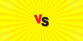 ПРОТИВ сравнения на желтой предпосылке Письма схватки в дизайне плоского стиля шуточном с полутоновым изображением, молнией r иллюстрация вектора