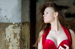 против стены девушки вечера платья старой Стоковые Фото