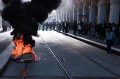 против французских работников забастовки реформы пенсии Стоковое фото RF