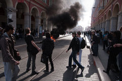 против французского студента забастовки реформы пенсии Стоковые Изображения