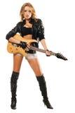 против электрической гитары девушки сексуальной Стоковое Фото