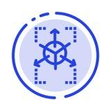 Прототип, решетка, база данных, линия значок голубой пунктирной линии диаграммы иллюстрация штока