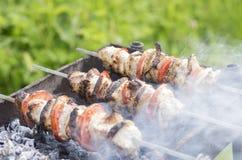 Протыкальники с shish томатами и луками kebabs Стоковые Изображения RF