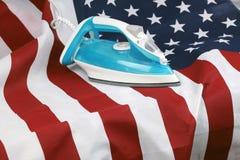 Проутюживенный скомканный флаг США Стоковое фото RF